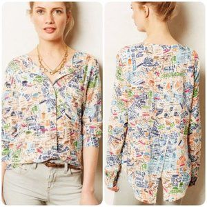 Anthro Maeve Cartography London Map button blouse